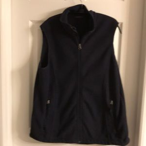 Lands End navy fleece vest